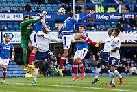 Lead up to the Paris Cowan-Hall of Wycombe Wanderers goal during the FA Cup 1st round match between Portsmouth and Wycombe Wanderers at Fratton Park, Portsmouth, England on the 5th November 2016. Photo by Liam McAvoy.