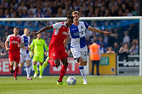 Devante Cole of Fleetwood Town gets away from Joe Partington of Bristol Rovers during the Sky Bet League 1 match between Bristol Rovers and Fleetwood Town at the Memorial Stadium, Bristol, England on 26 August 2017. Photo by Mark  Hawkins.