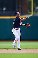 Columbus Clippers second baseman Yhoxian Medina (15) during a game against the Lehigh Valley IronPigs on May 12, 2016 at Huntington Park in Columbus, Ohio.  Lehigh Valley defeated Columbus 2-1.  (Mike Janes/Four Seam Images)