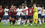 Players from both sides clash during the Premier League match at the Tottenham Hotspur Stadium, London. Picture date: 30th November 2019. Picture credit should read: Paul Terry/Sportimage
