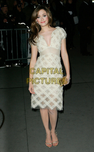 "EMMY ROSSUM.At Fashion Group International 23rd Annual Night of Stars Honoring ""The Visionaries"" at Cipriani 42nd, New York, New York, USA..October 26th, 2006.Ref: ADM/JL.full length white cream sheer pattern jewel encrusted dress gold clutch purse.www.capitalpictures.com.sales@capitalpictures.com.©Jackson Lee/AdMedia/Capital Pictures."