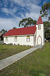 A church in the quiet town of Adventure Bay on Bruny Island in Tasmania