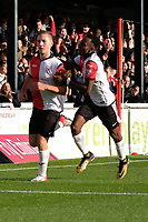 Jamie Philpot  (L) of Woking celebrates his goal in the first half during Woking vs Bury, Emirates FA Cup Football at The Laithwaite Community Stadium on 5th November 2017