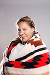 A Native American Indian woman in a blanket
