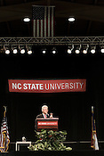 January 26, 2009. Raleigh, NC.. Former president Bill Clinton spoke at NC State as part of their Millenium seminar series. Clinton touched on many aspects of world politics and culture, directing his message to students and asking them to become the people prepared to solve the problems of the world.