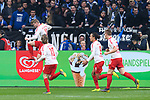 16.03.2019, VELTINS Arena, Gelsenkirchen, Deutschland, GER, 1. FBL, FC Schalke 04 vs. RB Leipzig<br /> <br /> DFL REGULATIONS PROHIBIT ANY USE OF PHOTOGRAPHS AS IMAGE SEQUENCES AND/OR QUASI-VIDEO.<br /> <br /> im Bild Torjubel / Jubel Timo Werner (#11 Leipzig)Emil Forsberg (#10 Leipzig), Yussuf Yurary Poulsen (#9 Leipzig), Marcel Halstenberg (#23 Leipzig)<br /> <br /> Foto © nordphoto / Kurth
