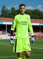 Goalkeeper Yusuf Mersin of Crawley Town during the Sky Bet League 2 match between Crawley Town and Wycombe Wanderers at Broadfield Stadium, Crawley, England on 6 August 2016. Photo by Alan  Stanford / PRiME Media Images.