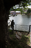 Henley on Thames. United Kingdom. Red Lion Hotel Riverside Terrace. with Statue.      Thursday,  30/06/2016,      2016 Henley Royal Regatta, Henley Reach.   [Mandatory Credit Peter Spurrier/ Intersport Images]