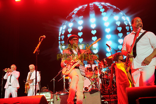 LONDON, ENGLAND - OCTOBER 27: Nile Rodgers and Jerry Barnes of Chic performing at Bluesfest at the O2 Arena on October 27, 2017 in London, England.<br /> CAP/MAR<br /> &copy;MAR/Capital Pictures
