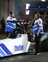 Apr 20, 2018; Baytown, TX, USA; Crew members for NHRA top fuel driver Terry Brian during qualifying for the Springnationals at Royal Purple Raceway. Mandatory Credit: Mark J. Rebilas-USA TODAY Sports