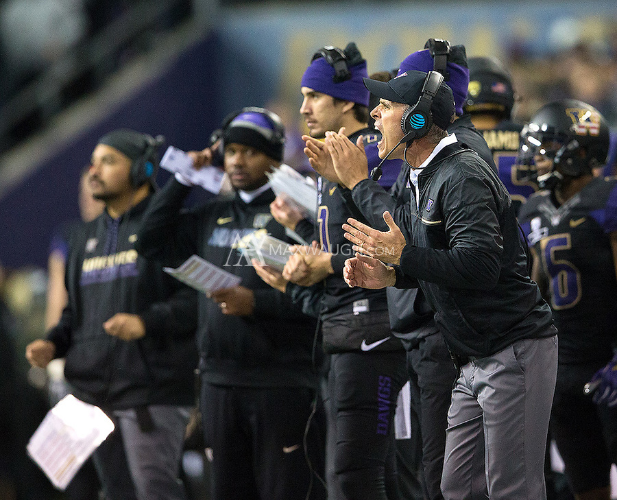 Chris Petersen shows some emotion.