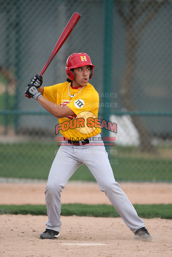 January 17, 2010:  AJ Monarrez (Lawndale, CA) of the Baseball Factory California Team during the 2010 Under Armour Pre-Season All-America Tournament at Kino Sports Complex in Tucson, AZ.  Photo By Mike Janes/Four Seam Images