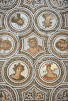 Picture of a Roman mosaics design depicting in the centre Aion, god of eternity, with Artemis and Apollo to his left and right and the Four Seasons, from the ancient Roman city of Thysdrus. 3rd century AD. El Djem Archaeological Museum, El Djem, Tunisia.