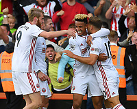 Billy Sharp of Sheffield United right celebrates scoring the goal to make the score 1-1  during AFC Bournemouth vs Sheffield United, Premier League Football at the Vitality Stadium on 10th August 2019