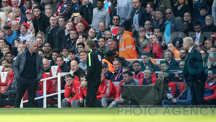 Manchester United's Jose Mourinho has words with the fourth official during the Premier League match at the Emirates Stadium, London. Picture date: May 7th, 2017. Pic credit should read: David Klein/Sportimage