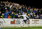 22.11.2019 Linlithgow Rose v Falkirk: Paul Dixon scores goal no 4 and celebrates with the Falkirk fans