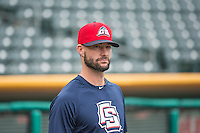 Josh Roenicke (17)  of the Colorado Springs Sky Sox before the game against the Salt Lake Bees in Pacific Coast League action at Smith's Ballpark on May 22, 2015 in Salt Lake City, Utah.  (Stephen Smith/Four Seam Images)