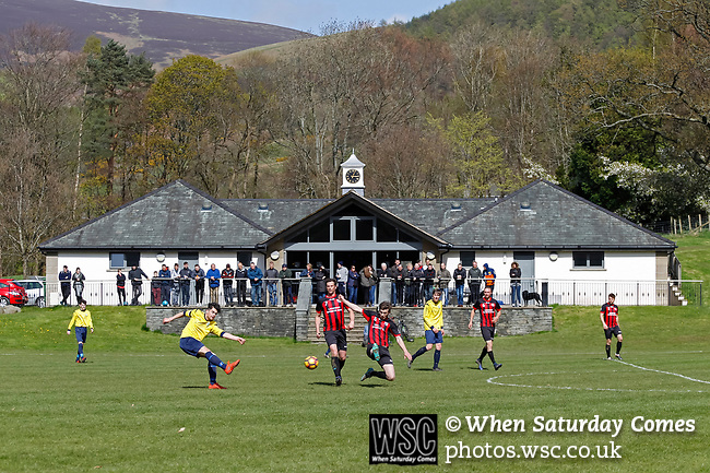 Keswick 1 Kendal 1, 15/04/2017. Fitz Park, Westmoreland League. Spectator watch from the Clubhouse which cost £500,000 and was opened by Sam Allardyce in 2010. Photo by Paul Thompson.