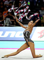 02 OCTOBER 1999 - OSAKA, JAPAN: Almudena Cid of Spain performs with ribbon at the 1999 World Championships in Osaka, Japan.  Almudena finished 12th in the individual All-Around.