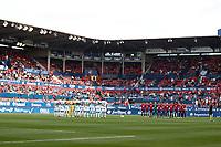 One minute of silence during the Spanish football of La Liga 123, match between CA Osasuna and Cordoba CF at the Sadar stadium, in Pamplona (Navarra), Spain, on Saturday, October 13, 2018.