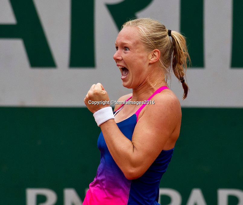 Paris, France, 01 June, 2016, Tennis, Roland Garros, Kiki Bertens (NED) wins her match against Madison Keys (USA) and celebrates.<br /> Photo: Henk Koster/tennisimages.com