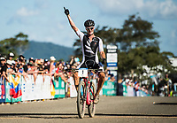 Picture by Alex Broadway/SWpix.com - 08/09/17 - Cycling - UCI 2017 Mountain Bike World Championships - XCO - Cairns, Australia - Sam Gaze of New Zealand celebrates as crosses the line to win the Men's Under 23 World Championship Race.