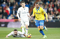 Real Madrid's Mateo Kovacic (l) and Daniel Carvajal (c) and UD Las Palmas' Jese Rodriguez during La Liga match. March 1,2017. (ALTERPHOTOS/Acero) /NORTEPHOTOmex