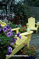 63821-14416 Yellow Adirondack chairs on deck - Petunias, Geraniums, Impatiens, Sun Coleus, Honeysuckle Marion Co.  IL