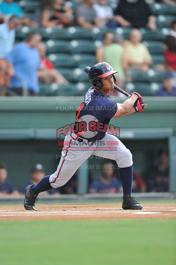 Center fielder Ray-Patrick Didder (11) of the Rome Braves bats in a game against the Greenville Drive on Tuesday, August 30, 2016, at Fluor Field at the West End in Greenville, South Carolina. Greenville won, 7-3. (Tom Priddy/Four Seam Images)