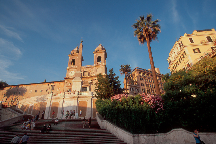 Rome, Italy, the Spanish Steps, Scalinata Spagna, with the French church, Trinita dei Monti, at the top, Europe, architecture,.