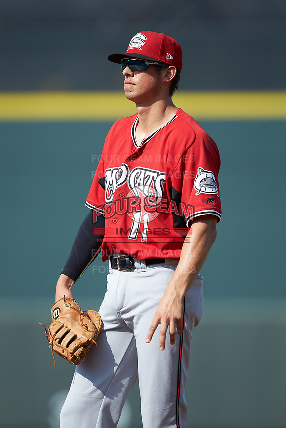 Carolina Mudcats first baseman Ryan Aguilar (11) on defense against the Winston-Salem Dash at BB&T Ballpark on June 1, 2019 in Winston-Salem, North Carolina. The Mudcats defeated the Dash 6-3 in game one of a double header. (Brian Westerholt/Four Seam Images)