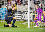 Philadelphia Union forward Fernando Aristeguieta (18) celebrates his goal against Real Salt Lake goalkeeper Nick Rimando (18) in the first half Saturday, March 14, 2015, during the Major League Soccer game at Rio Tiinto Stadium in Sandy, Utah. (© 2015 Douglas C. Pizac)