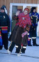 Crown Prince Haakon & Crown Princess Mette Marit of Norway on a two day visit to Finnmark in Norway, meet the community of Kautokeino, outside the Thon Hotel at Kautokeino