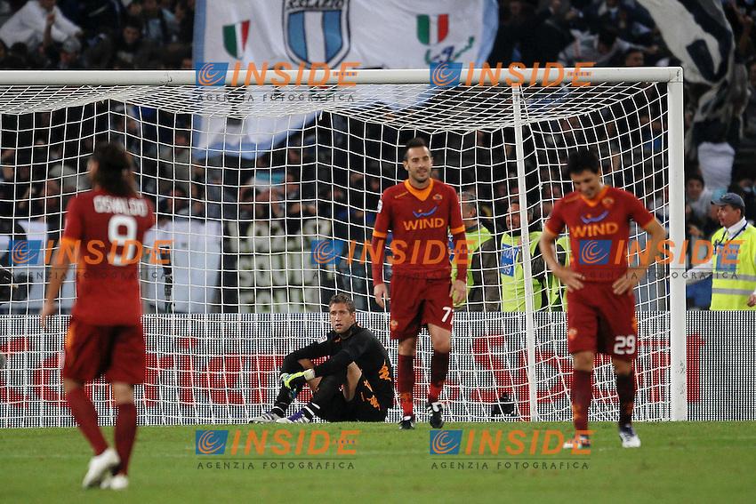 """Delusione STEKELENBURG, CASSETTI, BURDISSO.Roma 16/10/2011 Stadio """"Olimpico"""".Football Calcio Serie A 2011/2012 .Lazio Vs Roma.Foto Insidefoto Andrea Staccioli"""