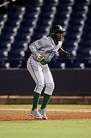 Daytona Tortugas second baseman Hector Vargas (4) leads off first base during a game against the Tampa Tarpons on April 18, 2018 at George M. Steinbrenner Field in Tampa, Florida.  Tampa defeated Daytona 12-0.  (Mike Janes/Four Seam Images)