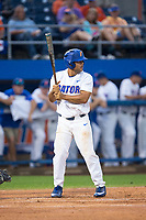 Nelson Maldonado (27) of the Florida Gators at bat against the Wake Forest Demon Deacons in Game One of the Gainesville Super Regional of the 2017 College World Series at Alfred McKethan Stadium at Perry Field on June 10, 2017 in Gainesville, Florida.  The Gators defeated the Demon Deacons 2-1 in 11 innings.  (Brian Westerholt/Four Seam Images)