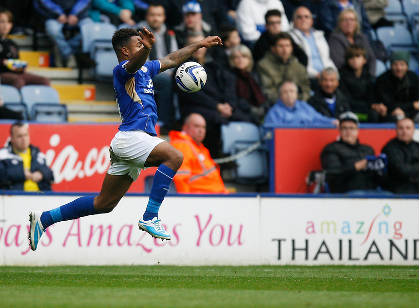 Leicester City's Liam Moore in action during todays match  <br /> <br /> Photo by Jack Phillips/CameraSport<br /> <br /> Football - The Football League Sky Bet Championship - Leicester City v Bournemouth - Saturday 26th October 2013 - King Power Stadium - Leicester<br /> <br /> &copy; CameraSport - 43 Linden Ave. Countesthorpe. Leicester. England. LE8 5PG - Tel: +44 (0) 116 277 4147 - admin@camerasport.com - www.camerasport.com