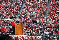 Ohio State President Michael Drake addresses a crowd of more than 40,000 Buckeye fans during the celebration for winning the national championship at Ohio Stadium on Jan. 24, 2015. (Adam Cairns / The Columbus Dispatch)