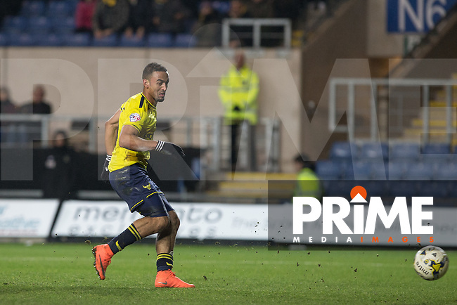 Kemar Roofe of Oxford United scores his 3rd goal during the Sky Bet League 2 match between Oxford United and Dagenham and Redbridge at the Kassam Stadium, Oxford, England on 15 March 2016. Photo by Andy Rowland.