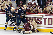 Dawson Cook (Notre Dame - 9), Dylan Malmquist (Notre Dame - 25), Casey Fitzgerald (BC - 5) - The Boston College Eagles defeated the University of Notre Dame Fighting Irish 6-4 (EN) on Saturday, January 28, 2017, at Kelley Rink in Conte Forum in Chestnut Hill, Massachusetts.The Boston College Eagles defeated the University of Notre Dame Fighting Irish 6-4 (EN) on Saturday, January 28, 2017, at Kelley Rink in Conte Forum in Chestnut Hill, Massachusetts.