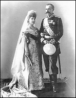 BNPS.co.uk (01202 558833)Pic: TheEurohistoryPhotoArchive/BNPS<br /> <br /> Grand Duke and Duchess George of Russia, 1900.<br /> <br /> A Russian Grand Duke branded King George V a 'scoundrel' who 'did not lift a finger' to save the Romanov family in the revolution there of 1917, explosive diaries have revealed.<br /> <br /> The cousin of the overthrown Russian Royal family blamed the British King for their executions because he failed to grant them refuge.<br />  <br /> Dmitri Pavlovich no-holds-barred diary extracts have been published for the first time in a new book by respected historian Coryne Hall, To Free The Romanovs.