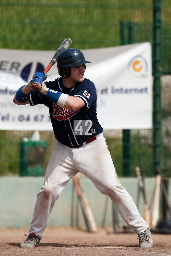 23 May 2009: Sebastien Vezina of La Guerche is seen at bat during the 2009 challenge de France, a tournament with the best French baseball teams - all eight elite league clubs - to determine a spot in the European Cup next year, at Montpellier, France. Rouen wins 6-2 over La Guerche.