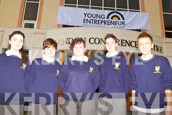 Tara Viscaurdi, Anna Cooper, Rachel Topham, Finton Kennedy and Pawel Swierczek from Pobalscoil Inbhear Sce?ine, Kenmare, at the Young Entrepreneur 2011 Blue Sky Day.