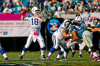 October 03, 2010:   Indianapolis Colts quarterback Peyton Manning (18) throws a pass during AFC South Conference action between the Jacksonville Jaguars and the Indianapolis Colts at EverBank Field in Jacksonville, Florida.   Jacksonville defeated Indianapolis 31-28,........