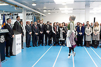 Prince Felipe of Spain and Princess Letizia of Spain observe the traditional Basque dance of honor 'aurresku' during the inauguration of new industrial laundry center for special workers INDESA 2010.March 5,2013. (ALTERPHOTOS/Acero)