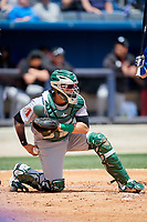 Jackson Generals catcher Oscar Hernandez (28) during a game against the Biloxi Shuckers on April 23, 2017 at MGM Park in Biloxi, Mississippi.  Biloxi defeated Jackson 3-2.  (Mike Janes/Four Seam Images)