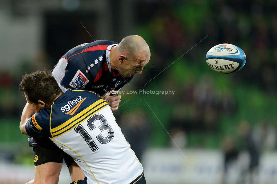 MELBOURNE, AUSTRALIA - JUNE 01: Stirling Mortlock of the Rebels is tackled during round 15 of the Super Rugby match between the RaboDirect Rebels and the Brumbies at AAMI Park in Melbourne, Australia. Photo Sydney Low. Please contact ZUMA Press zumapress.com for editorial licensing.