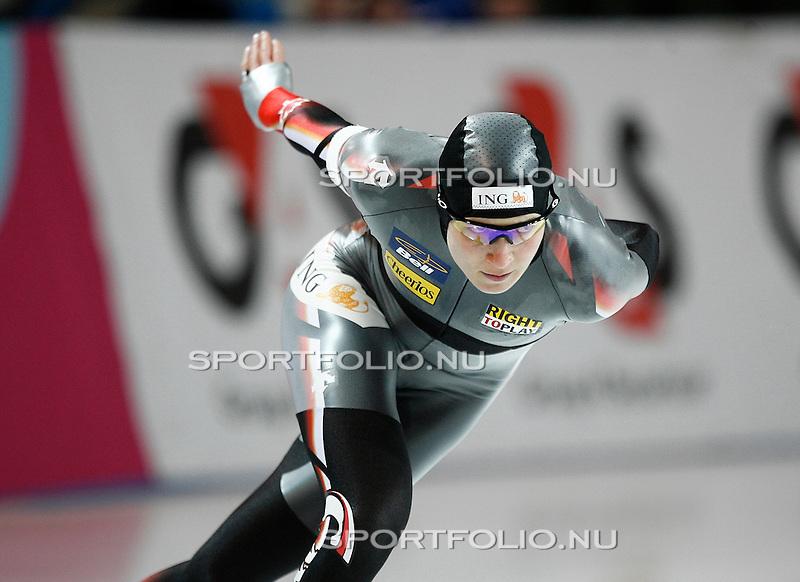 Duitsland, Berlijn, 9 februari 2008 .WK schaatsen allround 2008  .Kristina Groves van Canada in actie op de 3000 meter..