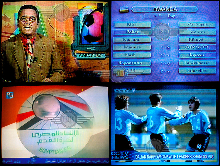 Football as a global sport - and business - represented in a montage of television grabs from Cuba, Tanzania, Egypt and China.