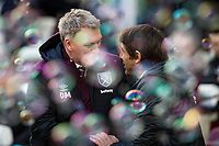 West Ham United Manager David Moyes welcomes Chelsea manager Antonio Conte ahead of the Premier League match between West Ham United and Chelsea at the Olympic Park, London, England on 9 December 2017. Photo by Andy Rowland.